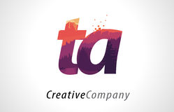 TA T A Letter Logo Design with Purple Forest Texture Flat Vector Stock Photo
