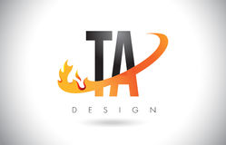 TA T A Letter Logo with Fire Flames Design and Orange Swoosh. TA T A Letter Logo Design with Fire Flames and Orange Swoosh Vector Illustration Royalty Free Stock Image