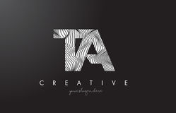 TA T A Letter Logo with Zebra Lines Texture Design Vector. TA T A Letter Logo with Zebra Lines Texture Design Vector Illustration Royalty Free Stock Images