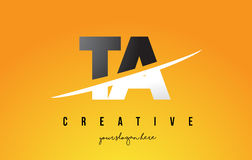 TA T A Letter Modern Logo Design with Yellow Background and Swoo. TA T A Letter Modern Logo Design with Swoosh Cutting the Middle Letters and Yellow Background Stock Photo