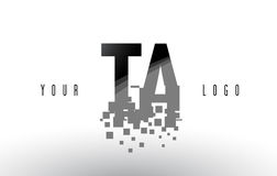 TA T A Pixel Letter Logo with Digital Shattered Black Squares. Creative Letters Vector Illustration Stock Images