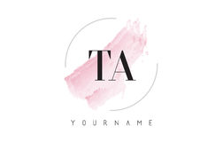 TA T A Watercolor Letter Logo Design with Circular Brush Pattern. TA T A Watercolor Letter Logo Design with Circular Shape and Pastel Pink Brush Royalty Free Stock Photo