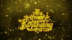 4ta tarjeta de felicitaciones de los deseos del feliz cumpleaños, invitación, fuego artificial de la celebración stock de ilustración