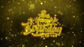 6ta tarjeta de felicitaciones de los deseos del feliz cumpleaños, invitación, fuego artificial de la celebración ilustración del vector
