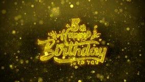 5ta tarjeta de felicitaciones de los deseos del feliz cumpleaños, invitación, fuego artificial de la celebración ilustración del vector
