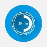 Ta tid på symbolen som indikerar tidmellanrum av minut 30 på blå backgr royaltyfri illustrationer