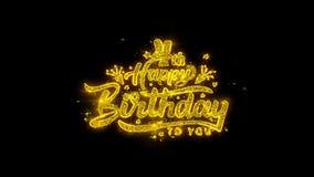 4ta tipografía del feliz cumpleaños escrita con los fuegos artificiales de oro de las chispas de las partículas