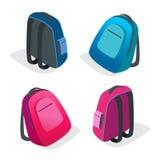 tła torby błękitny latanie opuszczać klon szkoły plecak Płaska 3d Wektorowa isometric ilustracja Zdjęcia Royalty Free