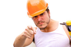 Taaie Kerel in een bouwvakker Stock Fotografie