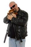 Taaie kerel met een teddybeer Stock Foto