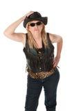 Taaie vrouw met zwarte cowboyhoed stock afbeeldingen