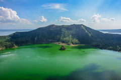 Taal Volcano in the fog, Luzon Island of the Philippines royalty free stock images