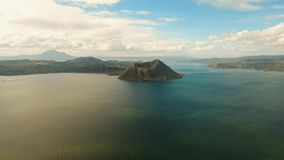 Taal Volcano, Tagaytay, Philippines. Aerial view Taal Volcano on Luzon Island North of Manila in Philippines. Volcano with a crater on an island in the middle Stock Photo