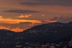 TAatete de Chien Dog在日落的` s头,在摩纳哥的La Turbie和公国附近 库存照片