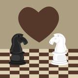 Tabú prohibido ninguna caída romántica del ajedrez de dos caballos en amor Foto de archivo libre de regalías