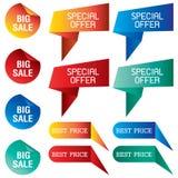 Tab Banner com preço com desconto isolado no fundo Fotos de Stock Royalty Free