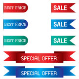 Tab Banner and Special Offer of ribbon design isolated on background. Ribbon Banner Stock Photos