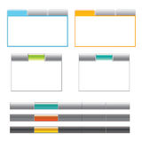 Tab boxes and main navigation menu. A set of 2 tab styles in 2 different color styles and 3 menu navigations in different colors Royalty Free Stock Image