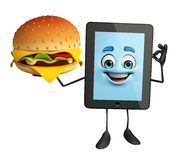 Tab Character with burger Stock Image