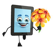 Tab Character with flowers Royalty Free Stock Image