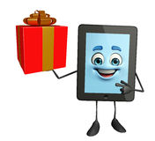Tab Character with gift box Stock Photo