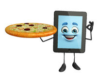 Tab Character with pizza Royalty Free Stock Photo