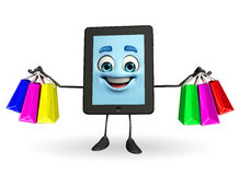 Tab Character with shopping bags Royalty Free Stock Image