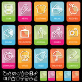 Tab icons on black, set 2 vector illustration