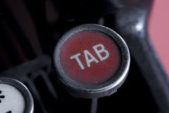 Tab key. Of an old typewriter Royalty Free Stock Photo
