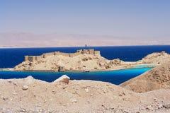 Taba, Egypt. View of Pharaoh's Island and Saudi Arabia, Egypt Royalty Free Stock Image