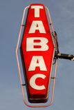 Tabac Sign. Illuminate red tabac sign, Paris, France Royalty Free Stock Photo