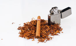 Tabacco. Lighter and cigar on white background Stock Photography
