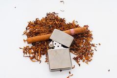 Tabacco. Lighter and cigar on white background Stock Photo