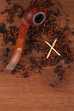 The Tabacco Pipe On The Wood Unhealthy Royalty Free Stock Photography