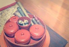 Tabaco asiático Tray Set del vintage Imagen de archivo