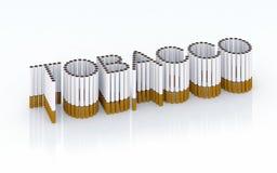 Tabaco escrito con los cigarrillos stock de ilustración