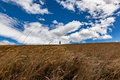 Tabacundo和卡扬贝火山谷的全景  库存图片