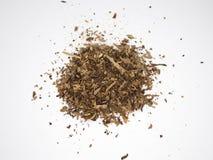 Tabaksstapel op een witte oppervlakte en een achtergrond wordt geïsoleerd die stock fotografie