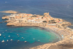 Tabarca Island in Alicante, Spain. Tabarca is the only inhabited island in the Region of Valencia and is located opposite the city of Alicante, 11 nautical miles royalty free stock photo