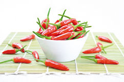 Tabasco Chilies. Red hot chili peppers in a white bowl on a green bamboo mat royalty free stock image