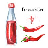 Tabasco sauce bottle and red hot Chili pepper set. Watercolor hand drawn illustration, isolated on white background. Tabasco sauce bottle and red hot Chili vector illustration
