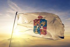 Tabasco stan Meksyk flaga tkaniny tekstylny sukienny falowanie na odgórnej wschód słońca mgły mgle ilustracja wektor