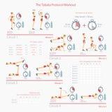 Tabata Protocol Workout avec l'illustration de programme Photographie stock libre de droits