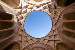 Circular skylight inside one of the courtyards of Tabatabaei Mansion stock image