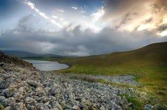 Tabatskhuri mountain lake in Georgia Stock Photos