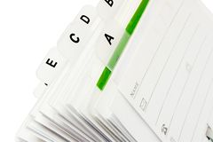 Tabbed Business Card File. Part of the business card holder with a tabbed letter index stock image