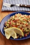 Tabbouleh沙拉用绿豆和菜 库存图片