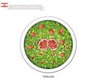 Tabbouleh eller libanesisk vegetarisk sallad på vit bakgrund stock illustrationer