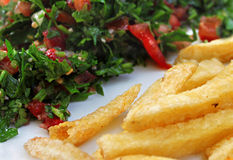 Tabbouleh and French Fries royalty free stock image