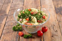 Tabbouleh. Homemade tabbouleh, semolina and vegetables Royalty Free Stock Image